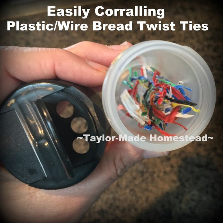 Is your junk drawer cluttered? What to do with all those plastic-coated bread twist ties? Check out this easy storage solution using a plastic herb container #TaylorMadeHomestead