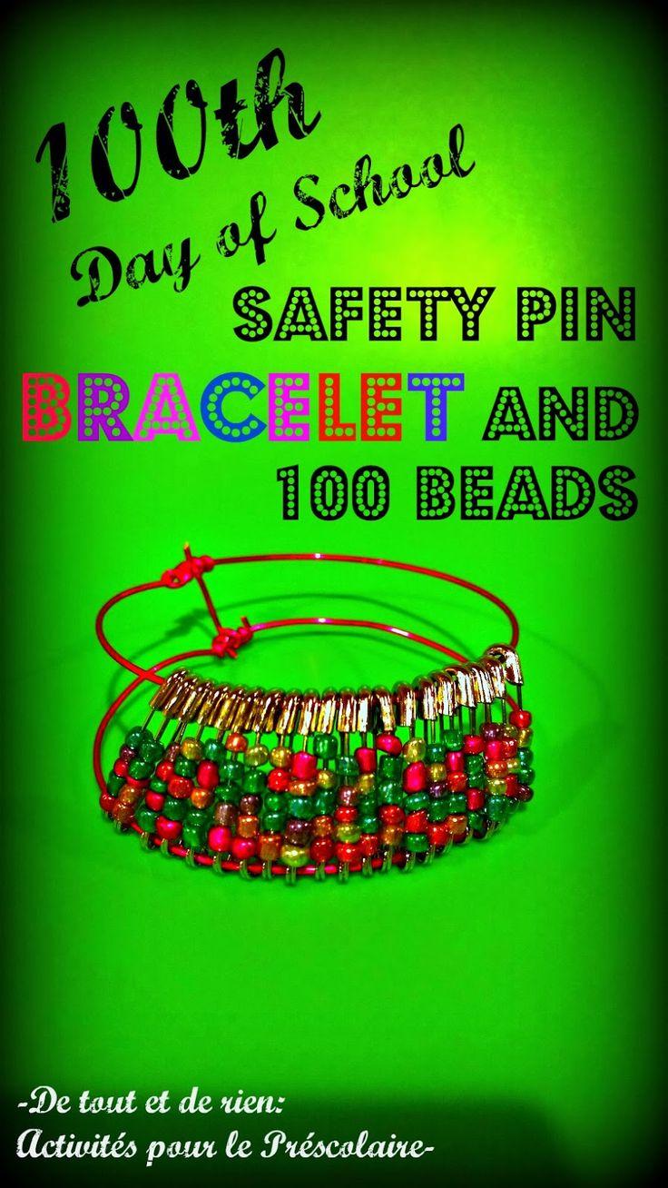 100th day of school safety pins necklace and bracelet - Bracelet et collier fait d'épingles de sureté et de perles pour le 100e jour d'école