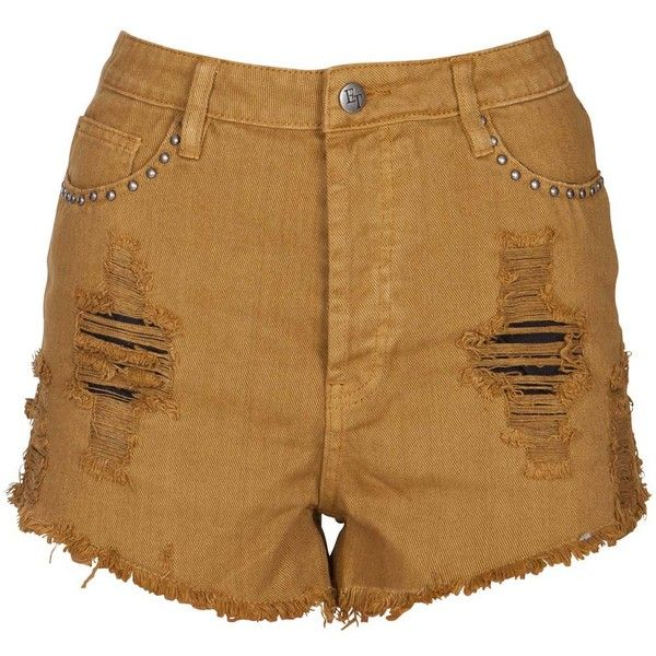 Evil Twin War Paint Mustard Shorts ($40) ❤ liked on Polyvore featuring shorts, bottoms, women, mustard shorts, evil twin and evil twin shorts