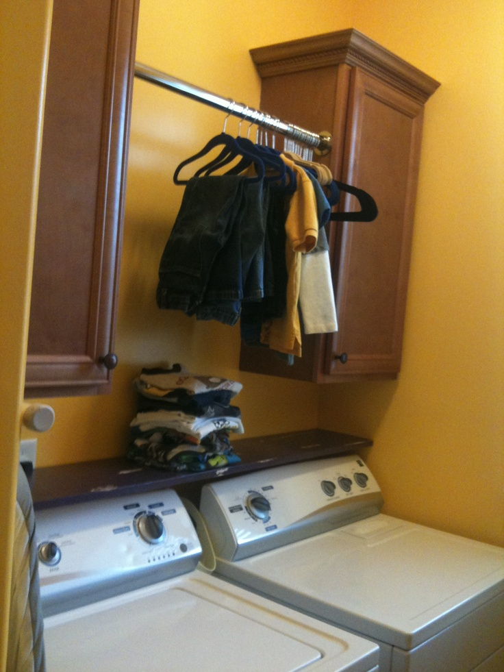 Painted shelf over washer and dryer Practical personal and pretty  Pinterest by Crystal