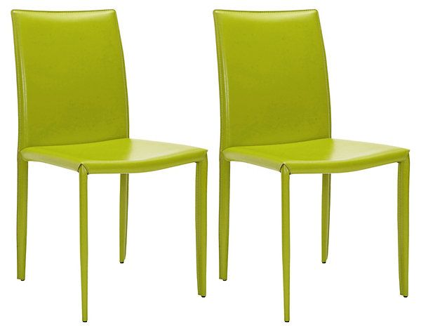 Lime Leather Caldwell Chairs Pair