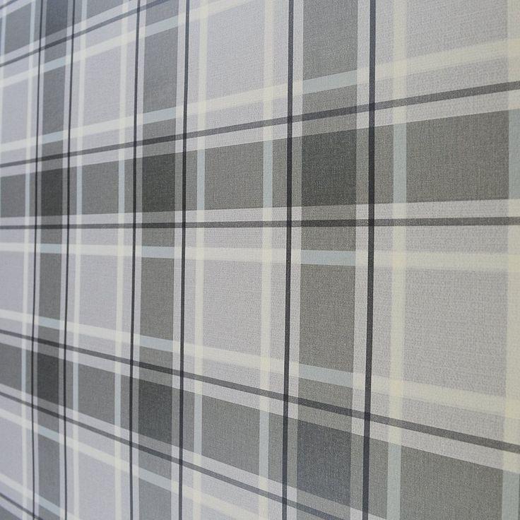 I Love Wallpaper™ Tartan Wallpaper Soft Grey / Charcoal (ILW980026)