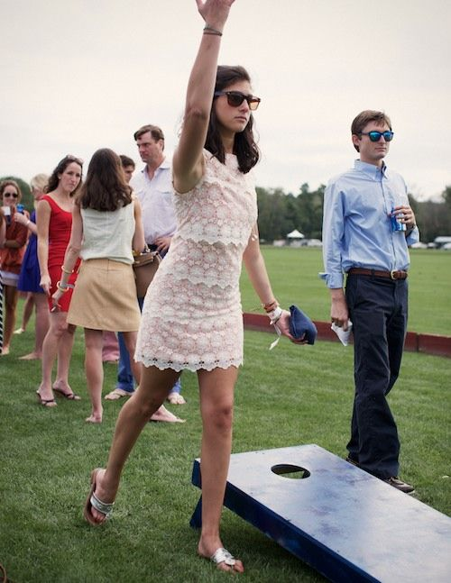 cornhole at the polo field. check yes to that.: Preppy Style, Corn Hole, Sorority Girls Style, Preppy Outfits, Girls Outfits, Cornhole Boards, Plays Cornhole, Outdoor Games, Lace Dresses
