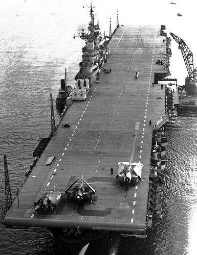 Essex class USS Bon Homme Richard (CV-31) as she appeared with original wooden straight deck configuration in 1945