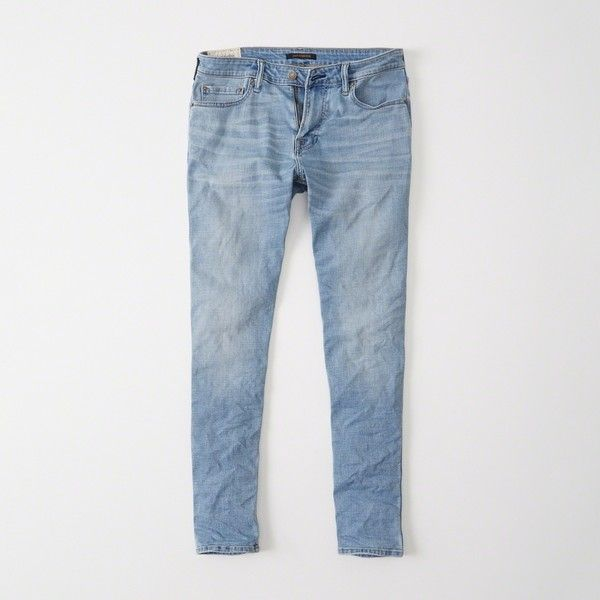 Abercrombie & Fitch Athletic Skinny Jeans ($88) ❤ liked on Polyvore featuring men's fashion, men's clothing, men's jeans, light wash, mens skinny jeans, mens super skinny stretch jeans, mens button fly jeans, mens stretch skinny jeans and mens super skinny jeans