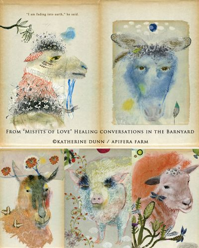 """From the new illustrated book by Katherine Dunn of Apifera Farm """"Misfits of Love"""" Healing Conversations in the Barnyard."""