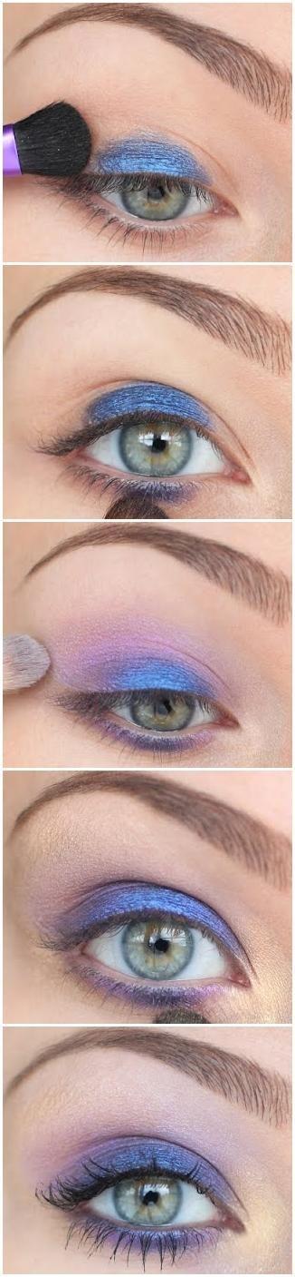 sombra de olho azul e violeta