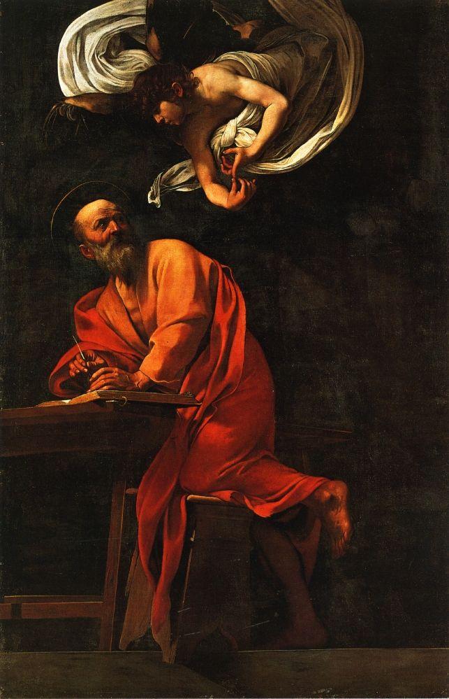 "Caravaggio: ""Inspiration of Saint Matthew"", 1602. (The Contarelli Chapel, Rome, Italy)"