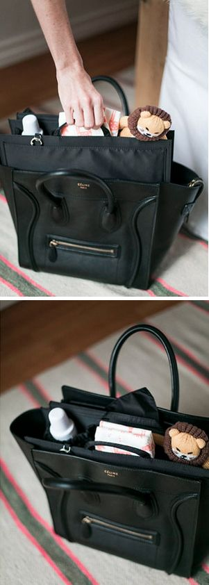 ToteSavvy organizer paired with the Celine Luggage Tote to make a chic diaper bag | Could I Have That