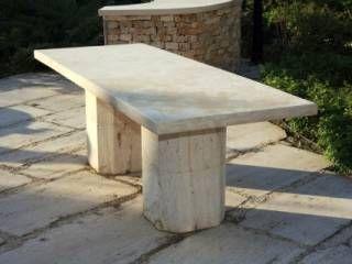Méretrevágott mészkő mészkő asztal Budakalászi mészkő kerti tipegő, kert, asztal, mészkő, járólap