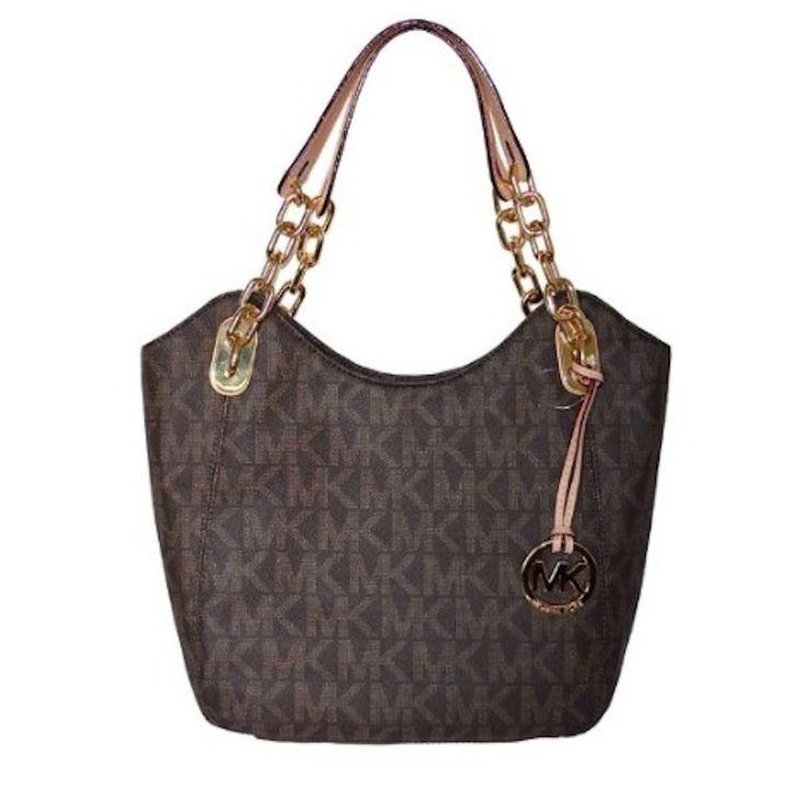 76f30c699980f3 ... promo code michael kors brown mk signature pvc lilly md shoulder tote  bag handbag purse 49065 ...