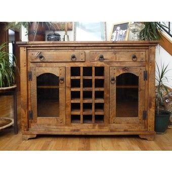 Autumn Comfort Barnwood Side Board & Wine Cabinet by Idaho Wood Shop- Western decor- cabin decor