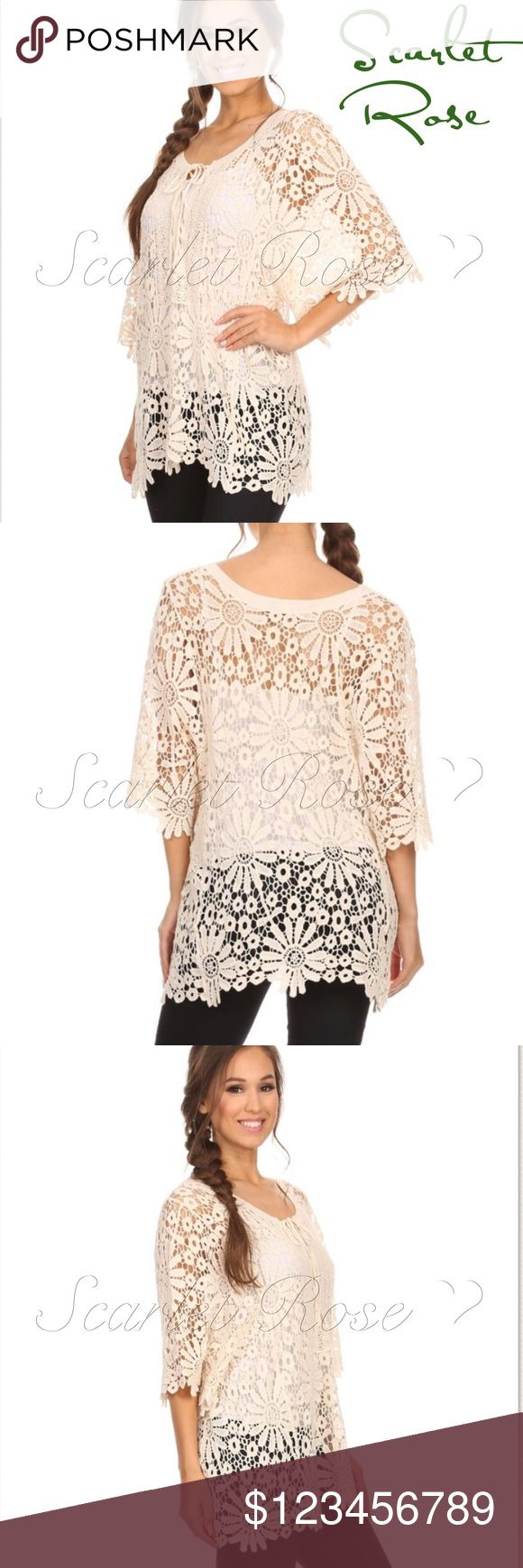 🌹Ivory Crochet Top or Tunic🌹 Ivory/Beige Crochet Top or Tunic featuring cut-out flower details throughout the patten and a criss cross tie at the front top. This is a MUST-HAVE item for your wardrobe. Pair with a pretty bralette or camisole under it with some jeans or leggings and you've got a rockin' outfit. Or throw over your bikini for a chic coverup. PRICE IS FIRM UNLESS BUNDLED.. These are OSFM, but I recommend sizes 2 - 8. Happy Poshing! 💕💕 Scarlet Rose Boutique Tops Tunics