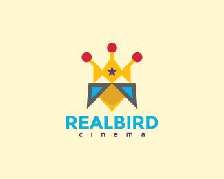 Real Bird is an abstract logo consist of a crown and a bird.(logo for sale, animal, bird, real, crown, star, parakeet, toucan, cinema, film, pet, abstract, logo design).
