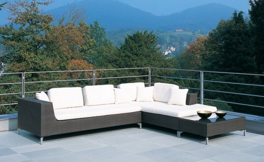 rausch outdoor furniture cubic bay corner lounge suite , sofa , synthetic wicker rattan
