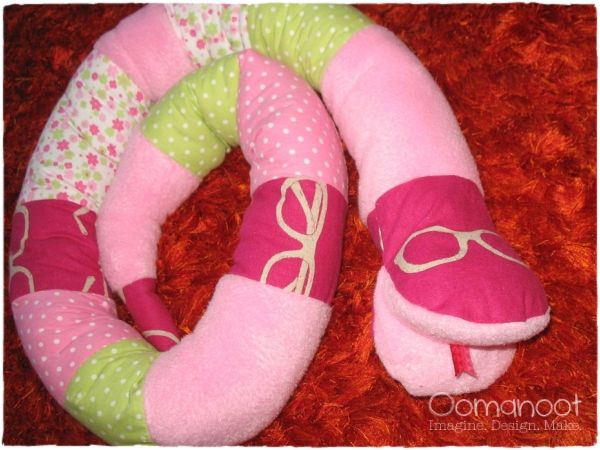 Fabric Stuffed Snake Toy with Etsuko Furuya Glasses Fabric in Pink