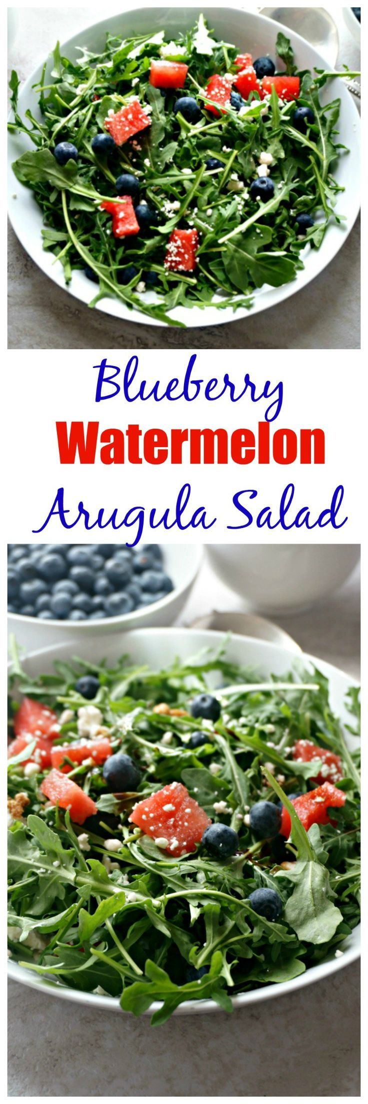Blueberry and Watermelon Arugula Salad: Peppery tender arugula is tossed with sweet watermelon, juicy blueberries, salty feta cheese, and finished with a balsamic glaze for one flavorful, festive salad. #SundaySupper