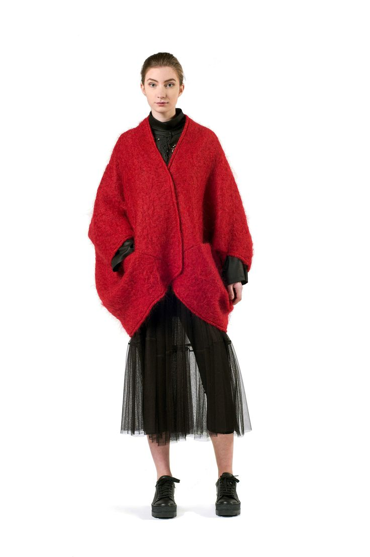 RED MOHAIR CAPE