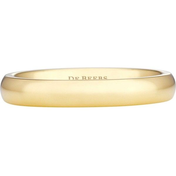DE BEERS Wide Court yellow gold wedding band (1,185 CAD) ❤ liked on Polyvore featuring jewelry, rings, gold wedding rings, gold jewellery, wide band rings, wide rings and yellow gold jewelry