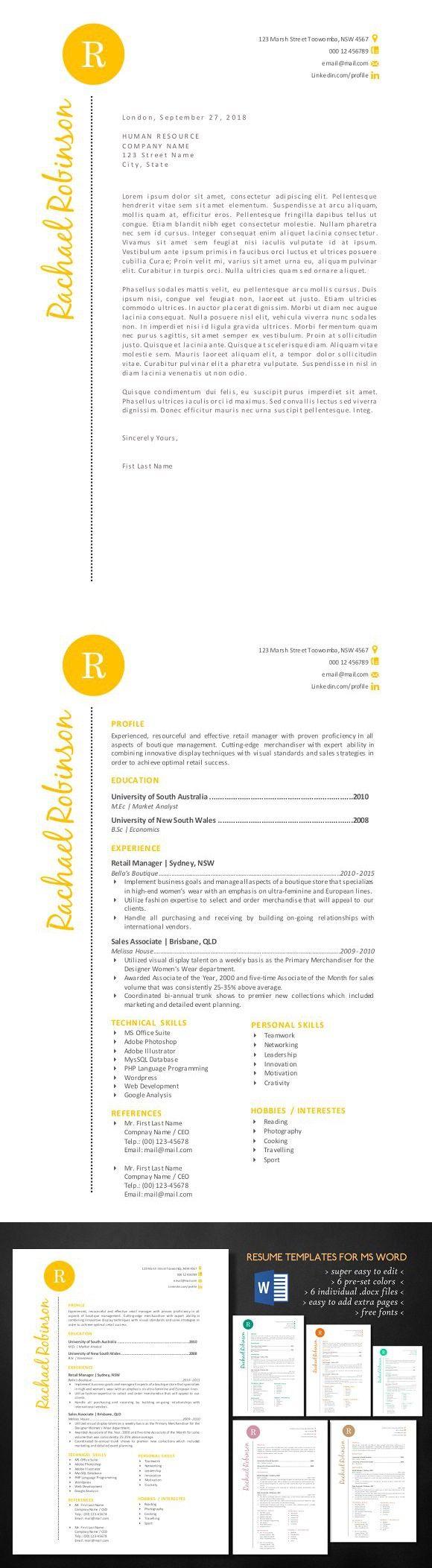 Stylish script 2 in 1 Word resume resumedesignformsword