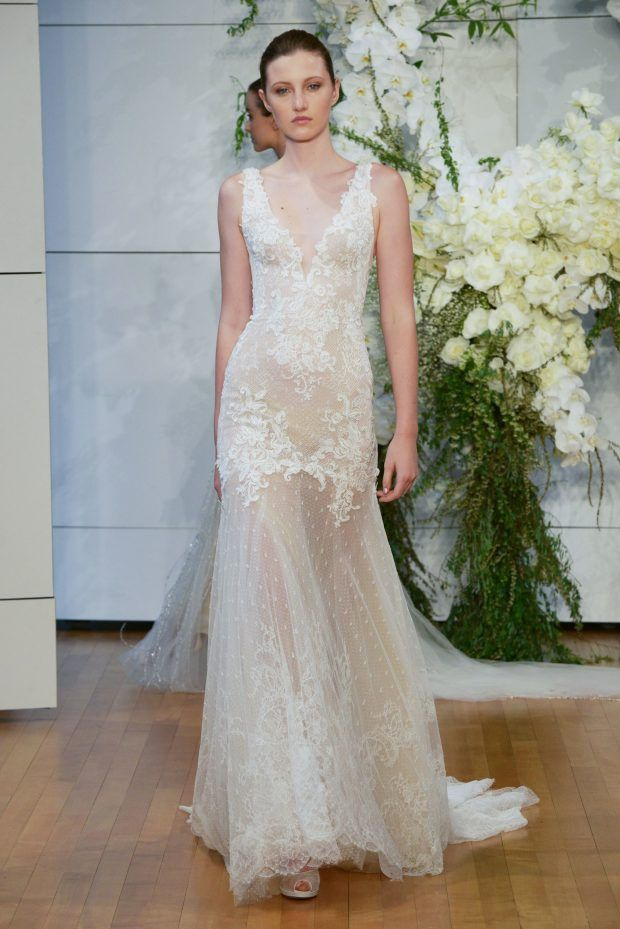 Monique Lhuillier Spring 2018 Off White Lace Appliques, sleeveless. Sleek Dreamy wedding dress.