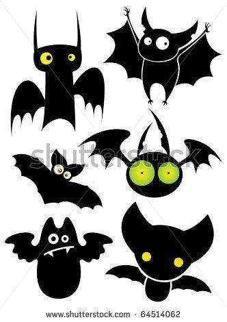 Set of cartoon Halloween black bats. Vector illustration.
