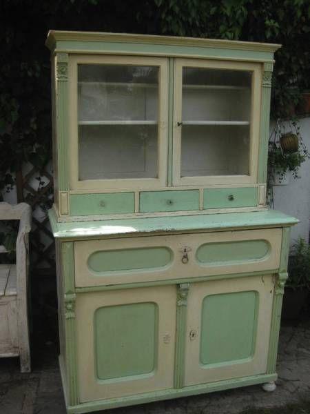 antikes Küchenbuffet, mintgrün-cremeweiss | Antik Living