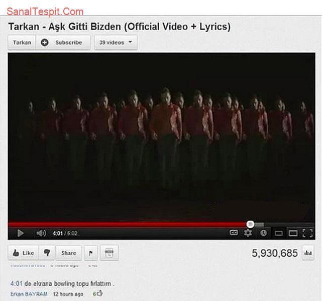 http://www.sanaltespit.com/Tespit/407/Bowling_Topu_Attiran_Klip.html Tarkan'ın Aşk Gitti Bizden adlı klibinden bir bölüm ekrana bownling topu attırıyor.