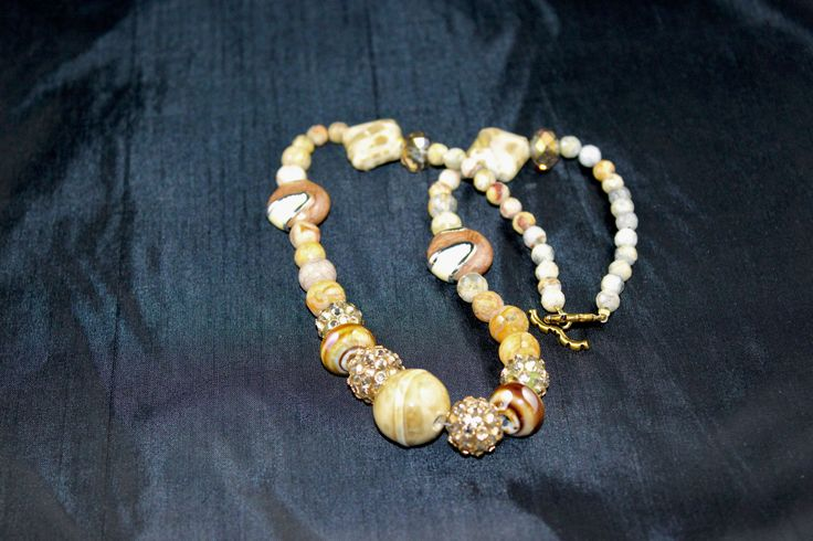 "Another amazing beige color semi precious stone 19"" necklace."