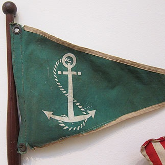 Anchor Boat Flag on Wooden Pole