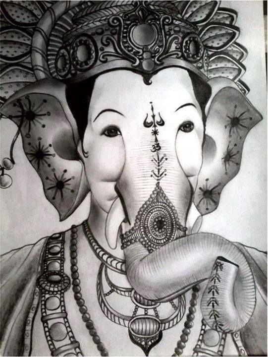Lalbagcha rajache sunder sketch... Bola Ganpati Bappa ...