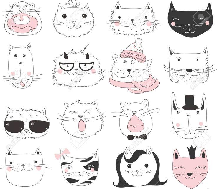 Набор 16 Вектор милые каракули кошек аватары Клипарты, векторы, и Набор Иллюстраций Без Оплаты Отчислений. Image 49421980.