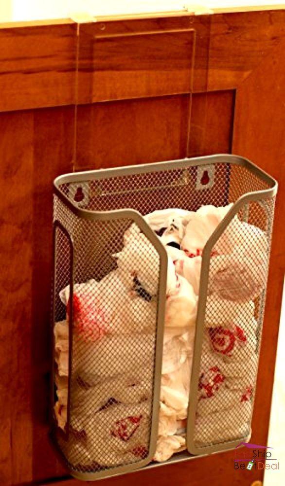 Over the Cabinet Door Grocery Bag Dispenser Hanger Wall Mount Kitchen Organizer #DecoBrothers