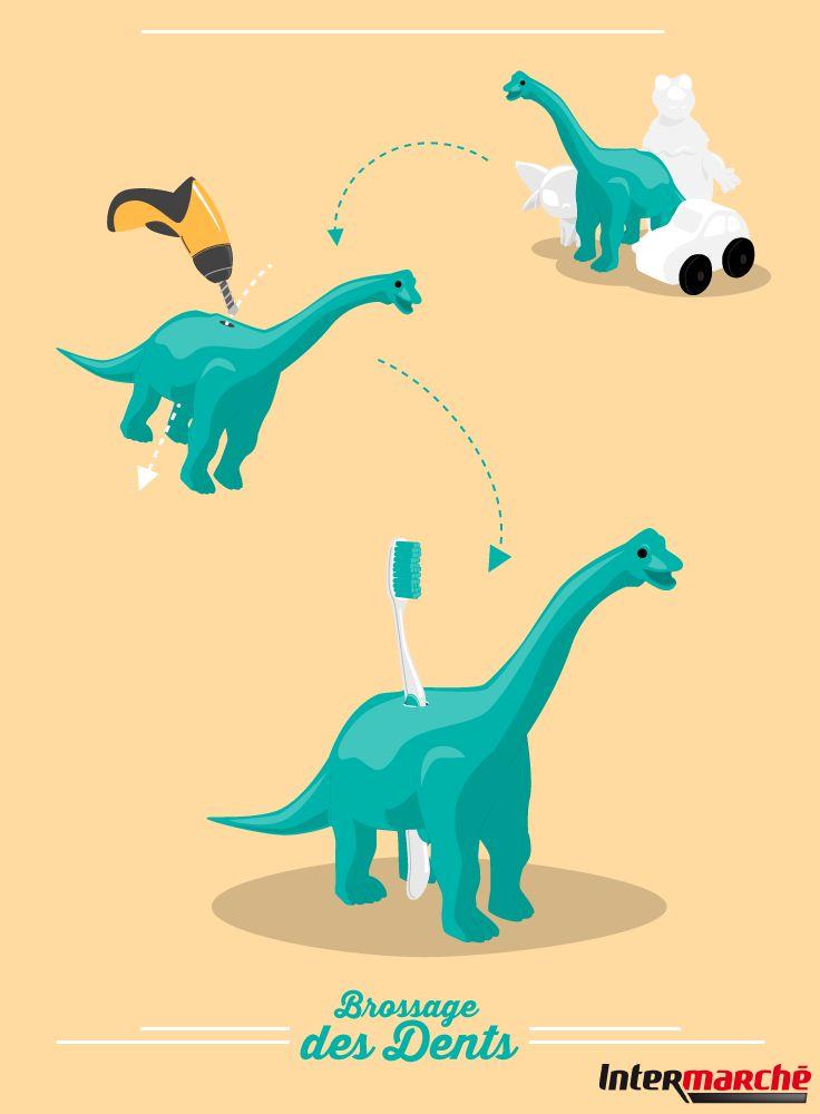 #Astuce : rendre le brossage des dents amusant. 1) Choisir un jouet que votre petit bout n'utilise pas. 2) Percer un trou à l'intérieur. 3) Ranger la brosse à dents de votre loulou dans le jouet !
