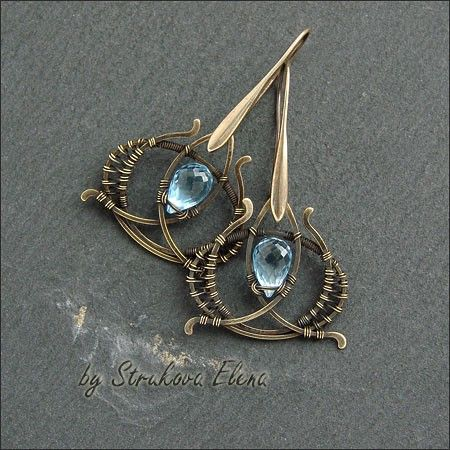 "(These are so exquisite!  Also, I LOVE the color combo of ""light sapphire"" and antique brass.)"