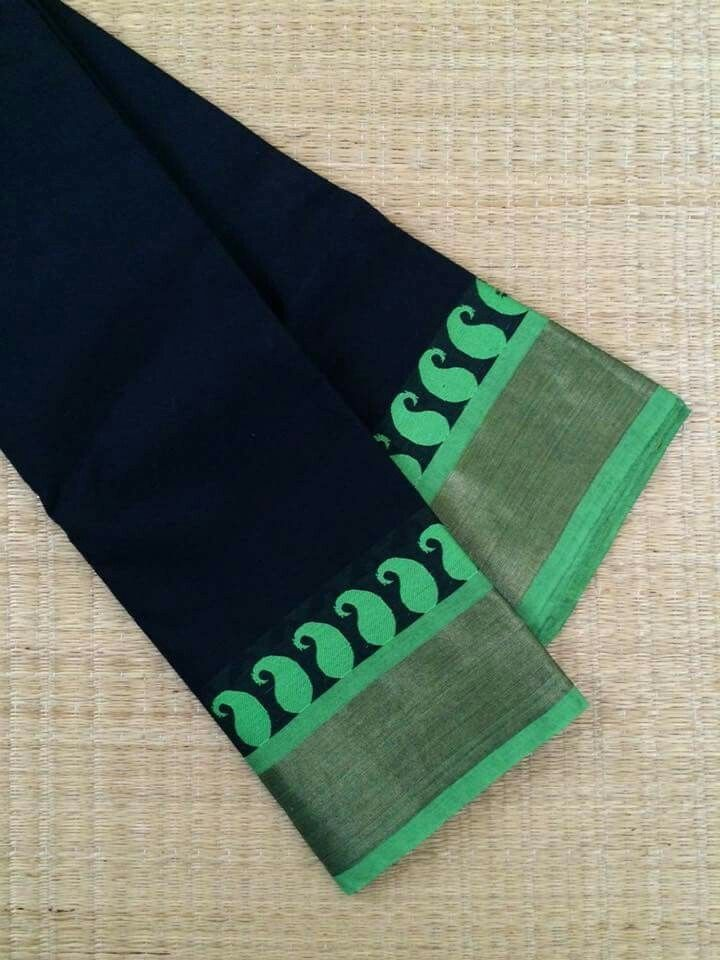 Black saree with leafy green paisley border