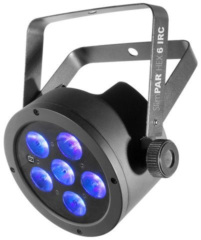 Chauvet SlimPAR HEX 6 IRC The SlimPAR™ HEX 6 IRC is a low-profile LED PAR with 6-in-1 LED technology (RGBAW+UV) and built-in infrared remote control cap. These are extremely versatile lights, can be used as an uplight, truss warmer, blacklight, and strobe.