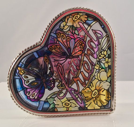 """Check out Vintage Heart Shaped TRINKET JEWELRY Frosted Glass Gorgeous Hand Painted """"FRIENDS"""" Anything Holder on thriftnstyle"""