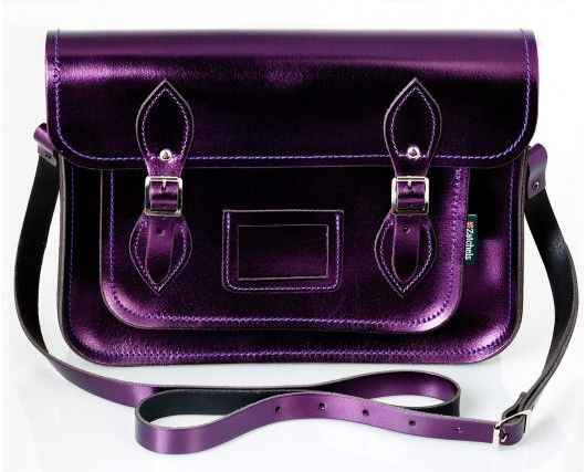 Zatchels metallic purple messenger