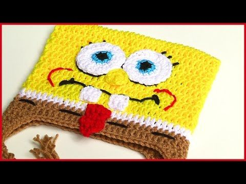 How to Crochet Spongebob Squarepants Hat Tutorial - YouTube Croche prendas ...