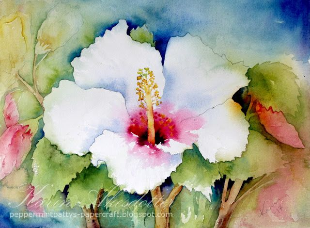 Sunday Watercolor: Hibiscus  For more info: I share my creative projects here: https://www.instagram.com/peppermintpatty42/ and on my blog: http://peppermintpattys-papercraft.blogspot.se and on pinterest; https://www.pinterest.se/peppermint42/my-watercolors/