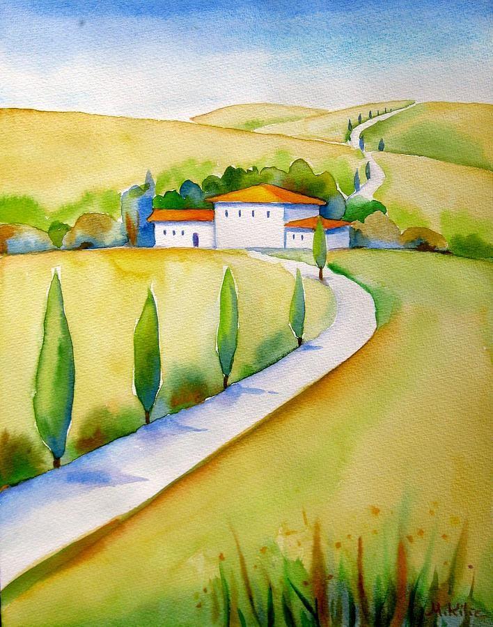 Landscape. Italy Painting - Tuscany Hills Cypresses by Meltem Kilic