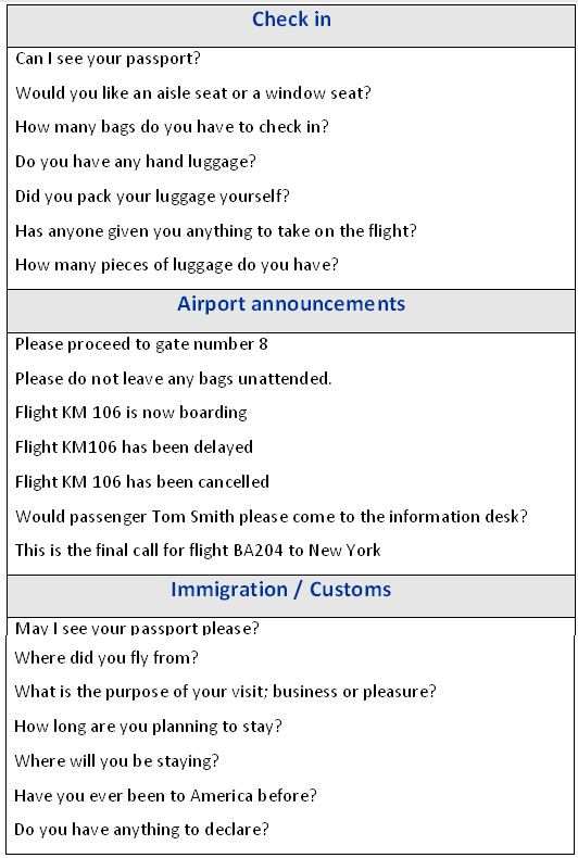 English phrases for travelling by air - learn English,communication,vocabulary,english