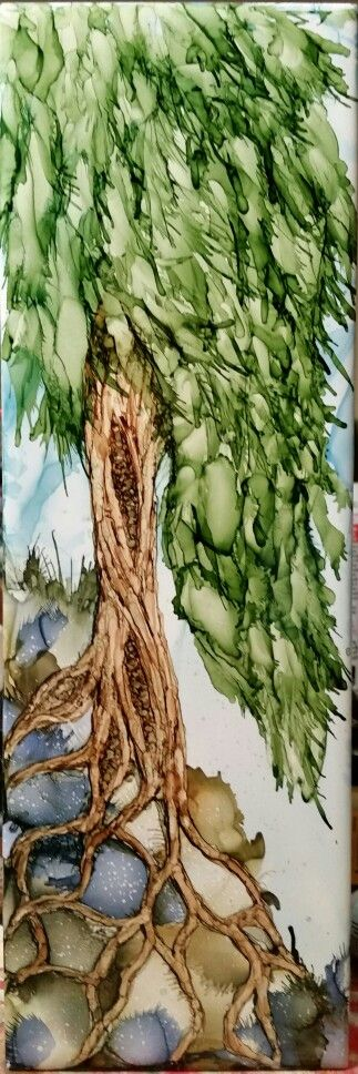 Tree in alcohol ink on 12x4 tile by Tina