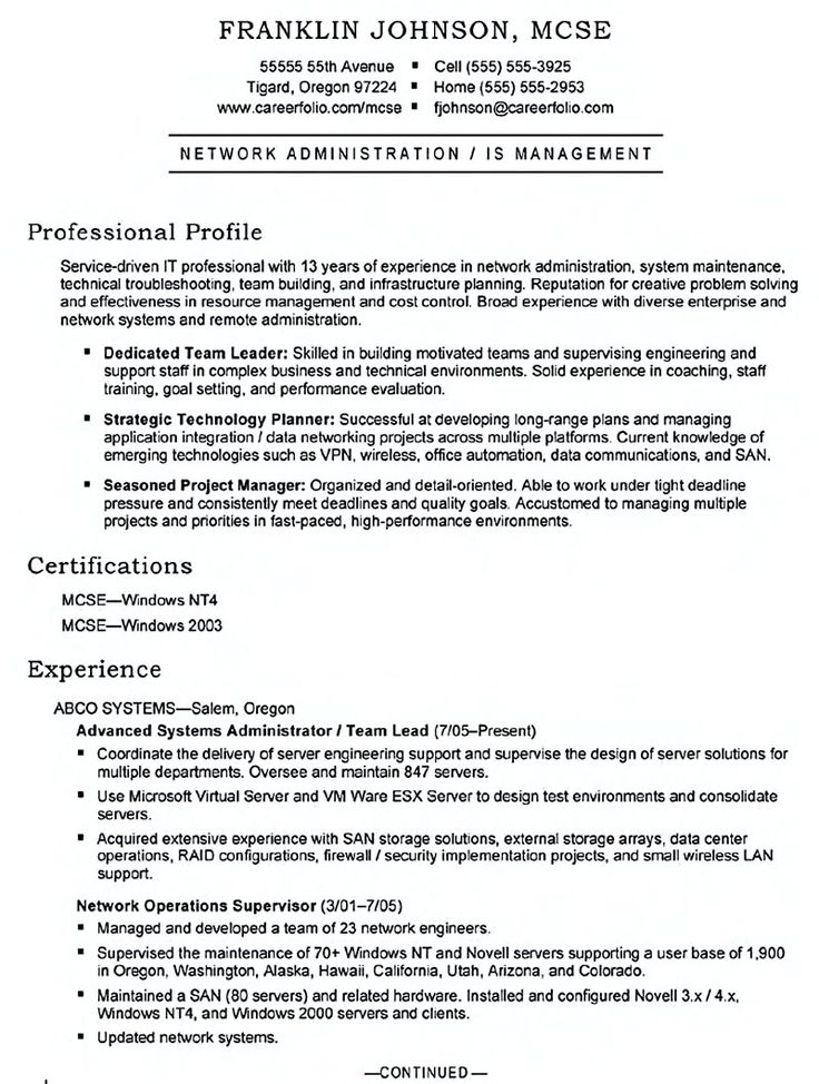 63 best Resumes images on Pinterest Interview, Education and - systems administrator resume examples