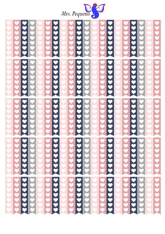 HEART CHECKLIST FLAG, Printable planner stickers, checklist stickers, erin…