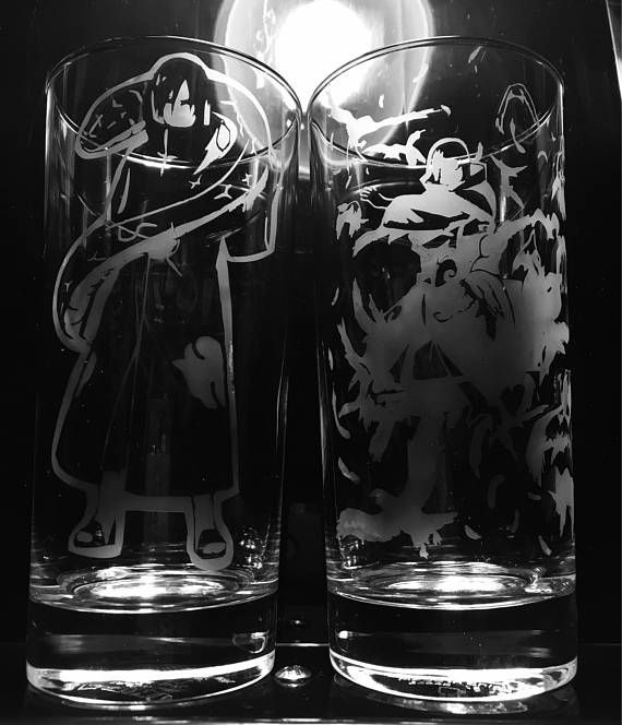 Naruto Themed Etched Glasses