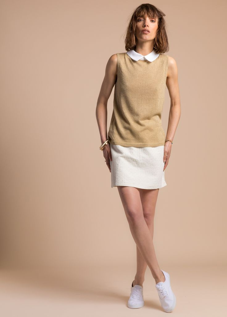 Collection PE 17 | La petite étoile pull mailles col claudine  jupe droite chic  casual wear  casual chic
