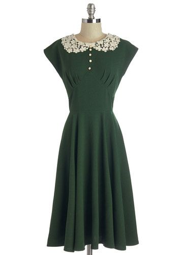 1940s Style Modest Dress:  Dancing Date Dress in Fern