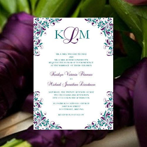 This peacock colored monogram invitation template is suitable for all seasons. Response cards, reception invites, ceremony programs, place